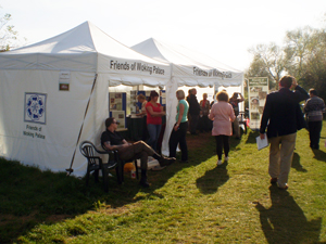 Visitors to the Friends tent